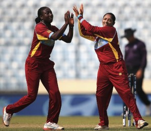 Stafanie Taylor and Anisa Mohammed celebrate the fall of Elyse Villani