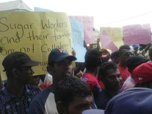 Sugar workers during  a recent protest. [iNews' Photo]