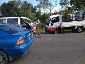 The accident scene. [iNews Citizen Reporter's Photo]