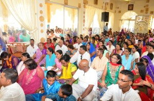 A section of those gathered at the commissioning of the Sri Krishna Mandir