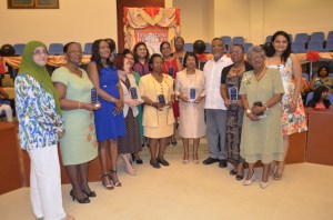 Prime Minister Samuel Hinds, Mrs. Yvonne Hinds, Minister of Human Services and Social Security, Jennifer Webster among the women who were awarded for their contribution.
