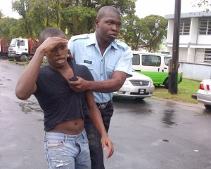 Murder accused, Steven Bacchus was recaptured after escaping from the Georgetown Magistrates' Court. [Ravin Singh's Photo]