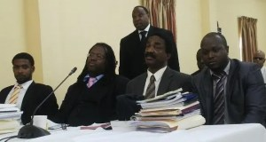 From L - R: Attorneys - at - Law, Brian Clarke, Selwyn Peters, Basil Williams, James Bond and Keith Scotland is standing. [iNews' Photo]