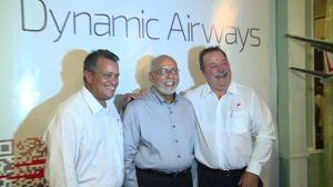 President Donald Ramotar, Captain Gerald Gouveia and Dynamic Airways Vice President Tom Johnson
