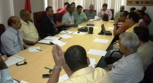 The Agencies responsible for mining in Guyana, led by Natural Resources and the Environment Minister, Robert Persaud met today with the executive members of the Guyana Gold and Diamond Miners Association (GGDMA)
