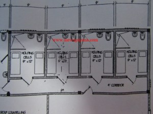 A leaked copy of the plan for the construction of a confinement building shows that there will be eight, 9' X 12' holding cells constructed.