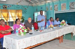 Agriculture Minister Dr. Leslie Ramsammy during his address to the residents of Mora Point.