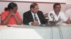AFC Executive Members, Beverly Alert, Moses Nagamootoo and Councilor, Naith Ram. [iNews' Photo]