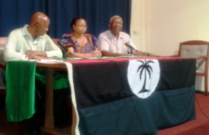 L - R: PNCR Vice Chairs, Lance Carberry, Volda Lawrence and General Secretary, Oscar Clarke. [iNews' Photo]