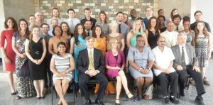 US Ambassador, Brent Hardt along with the Peace Corps Volunteers. [iNews' Photo]