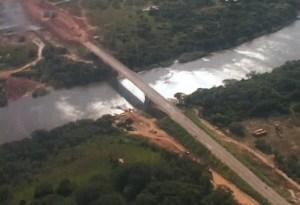 An aerial view of the Takutu bridge