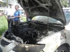 The damaged car. [iNews' Photo]