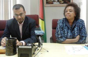 Minister of Natural Resources and the Environment, Robert Persaud and UNDP Resident Coordinator, Khadija Musa. [iNews' Photo]