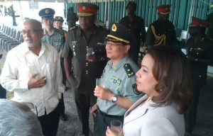Major General Kong Li [second from right], Brigadier Mark Philips [third from right],  President Donald Ramotar and Foreign Affairs Minister, Carolyn Rodrigues. [iNews' Photo]