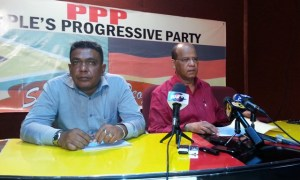 PPP Member, Zulfikar Mustapha and General Secretary, Clement Rohee during the press conference today, August 18, 2014. [iNews' Photo]