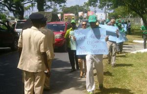 APNU Leader, David Granger leads the protest action at Square of the Revolution.