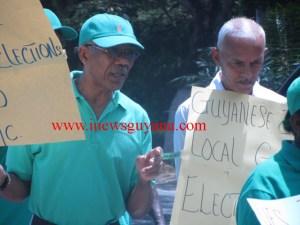 Flashback: APNU Leader, David Granger and Member, Ronald Bulkan at the picket line for LGE in 2014.