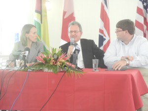 From L-R: Dr. Nicole Giles, Andre Ayre, Bryan Hunte