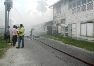 Firefighters at the scene of the fire. [iNews' Photo]