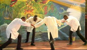 Members of the Winner's Cathedral performs a dance at the 2014 heritage inter faith service. [GINA Photo]