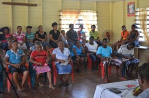 A section of residents of Elizabeth/Mariah, Three Freinds during a community meeting with Minister within the Ministry of Finance Juan Edghill. [GINA Photo]