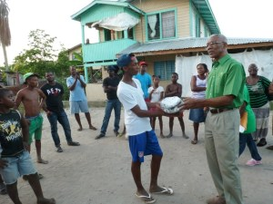PNCR Leader donated footballs to one of two youth groups at Mahaicony.