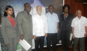 President Ramotar and members of the Public Service Commission. [iNews' Photo]