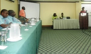 Consumer Health &Safety Officer, CSME Unit in Barbados, Hilda Kelshall address the gathering. [iNews' Photo]