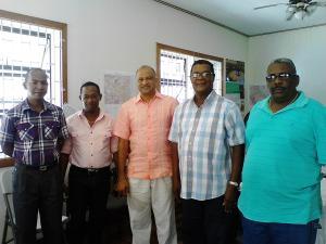 From Left:Commander Brutus,Commander Hocken,Commissioner Persaud, GGDMA President Harding and Commander F Division Ramsay