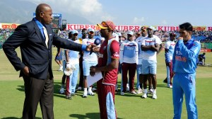 Captain Dwayne Bravo just before the start of the fourth one day against India