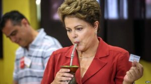 Incumbent Dilma Rousseff sipped a herbal tea after voting in Porto Alegre