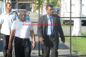 Publisher of Kaieteur News, Glenn Lall and his Attorney, Khemraj Ramjattan
