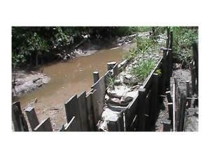 The eroded and damaged river embankment at Liberty .