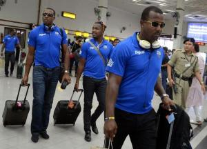 West Indies cricketers arriving at the Kochi Airport on Monday. Photo: K.Pichumani