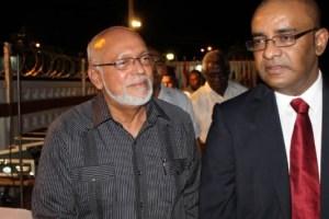 Former President Bharrat Jagdeo (R) and his successor President Donald Ramotar (L)