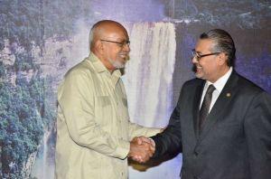 President Donald Ramotar meets Guatemalan Ambassador, Giovanni  Polanco. [GINA Photo]