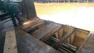 Repair works being done on the MV MALALI.