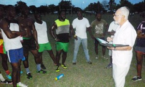 Kit Nascimento talking to the players after the beep test.