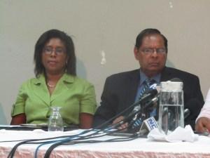 AFC Parliamentarians, Cathy Hughes and Moses Nagamootoo at the press conference, today, Thursday November 06. [iNews' Photo]