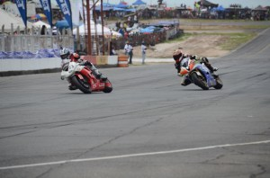 Some of the action during the super bike racing. [iNews' Photo]