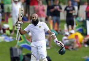 Hashim Amla celebrates his match changing century