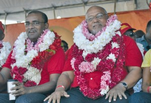 Former President, Bharrat Jagdeo (left) and Head of State, Donald Ramotar.