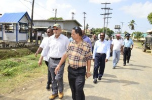 President Donald Ramotar being given a tour of the generating sets at the commissioning of the 24 – hour service at the Leguan Power Station.