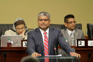 'Look to the truth': Attorney General Anand Ramlogan during his presentation of the Precursor Chemicals (No 2) Bill at yesterday's sitting of the Upper House of Parliament at the International Waterfront Centre, Port of Spain. —Photo courtesy The Office of the Parliament