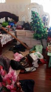 One of the ransacked rooms.