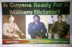 The poster in circulation comparing the APNU Leader to German politician and the leader of the Nazi Party, Adolf Hitler and the late President of Iraq, Saddam Hussein.