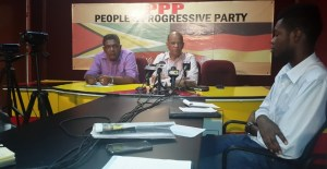 General Secretary of the PPP, Clement Rohee (right) and PPP Member Zulficar Mustapha at the press  conference on Monday, January 12. [iNews' Photo]