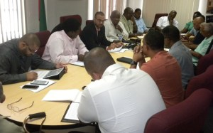 Minister Persaud heads the meeting with GGDMA officials.
