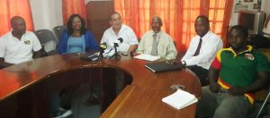 Peter Green and his executive during the press conference.