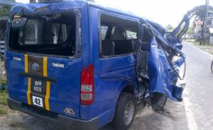 The mangled minibus. [iNews' Photo]